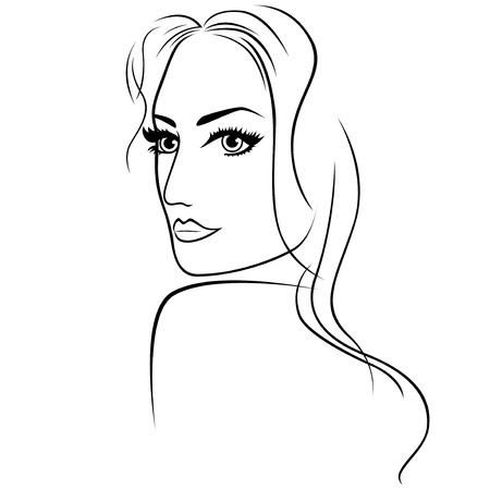 half turn: Abstract attractive young woman half turn portrait with big eyes and long hair, sketching vector outline illustration Illustration