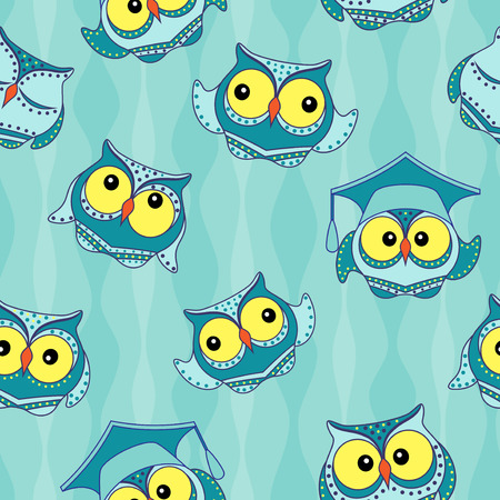 alumnus: Amusing blue owls with big yellow eyes on the light blue wavy background, seamless vector pattern Illustration