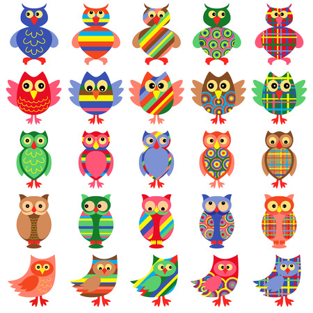 motley: Set of twenty five amusing colorful vector ornamental motley owls isolated on the white background