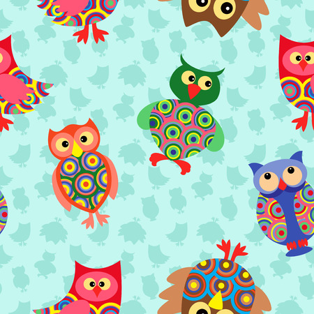 likable: Likable colourful stripy owls on the background with many stylized simple owls, seamless vector pattern