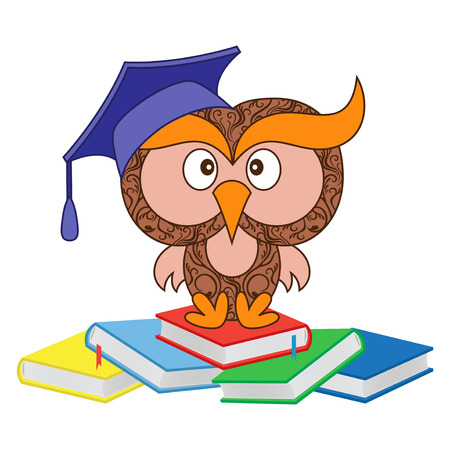 Big funny ornate wise owl in the mortarboard cap sitting on the heap of books, cartoon vector illustration isolated on the white background