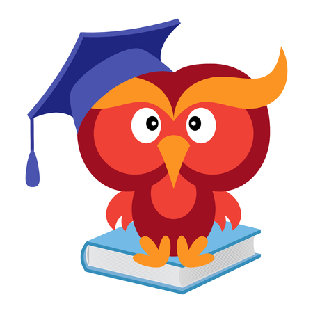 Big funny wise owl in the mortarboard cap sitting on the blue book, cartoon vector illustration isolated on the white background Illustration