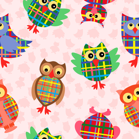 likable: Likable colourful checkered owls on the pink background with many stylized simple owls, seamless vector pattern
