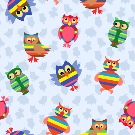 stripy: Funny colourful stripy owls on the background with many stylized simple owls, seamless vector pattern Illustration