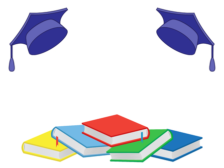 Heap of new colourful books and mortar boards isolated on the white background, vector illustration
