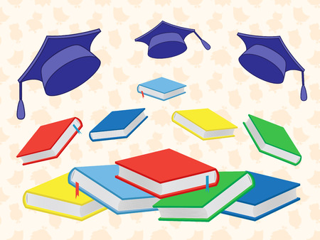 valedictorian: Colourful new books and flying mortar boards on the seamless background with stylized owls, vector illustration