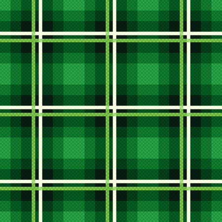 Rectangular seamless vector fabric pattern mainly in emerald hues with contrast lines