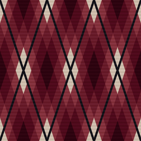 scot: Rhombic seamless vector fabric pattern mainly in marsala color with dark gray lines