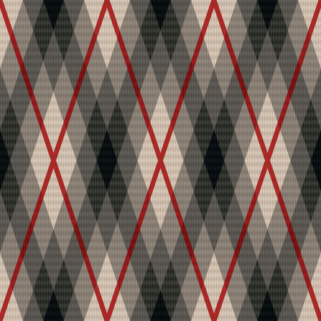 vector fabric: Rhombic seamless vector fabric pattern in gray color with soft muted hues and with red lines Illustration