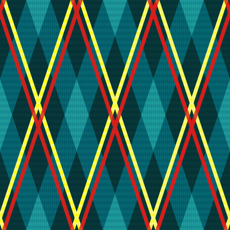 contrast: Rhombic seamless vector fabric pattern mainly in turquoise hues with contrast red and yellow lines