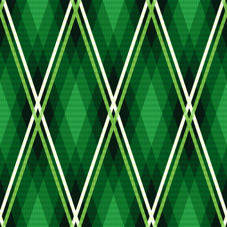 hues: Rhombic seamless vector fabric pattern mainly in emerald hues with contrast lines Illustration