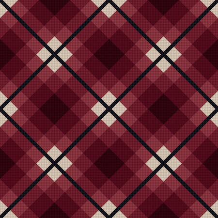 scot: Diagonal seamless vector fabric pattern mainly in marsala color with dark gray lines Illustration