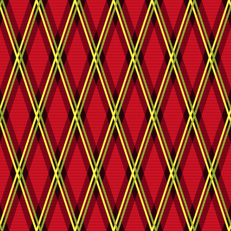 rhombic: Rhombic seamless vector fabric pattern mainly in red color with green and yellow lines