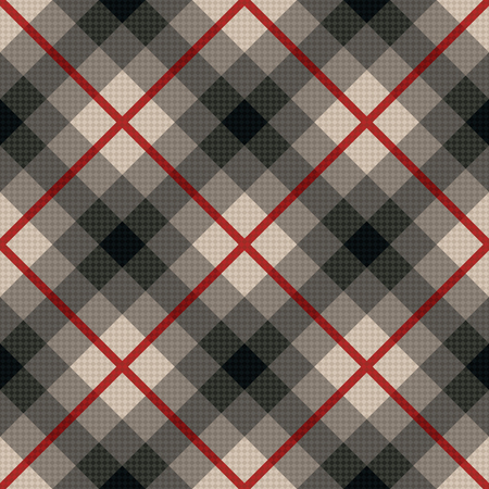 muted: Diagonal seamless vector fabric pattern in gray color with soft muted hues and with red lines