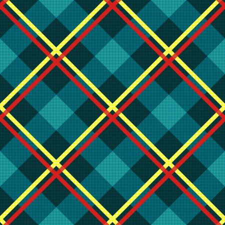 vector fabric: Diagonal seamless vector fabric pattern mainly in turquoise hues with contrast red and yellow lines Illustration