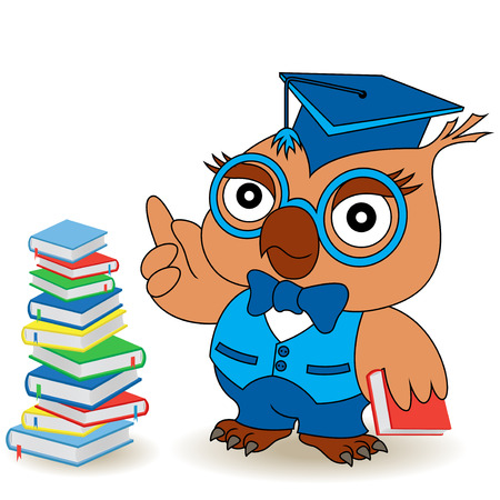 Serious Teacher Owl in glasses and in mortarboard near the book stack, cartoon vector childish illustration