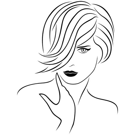 forelock: Attractive young beautiful lady portrait with stylish short forelock hairstyle. The hair covers almost half face. Vector outline