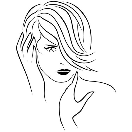 forelock: Cute young girl corrects her short forelock hairstyle. The hair covers almost half face. Vector outline