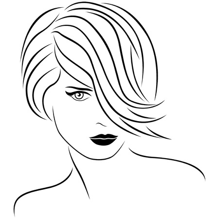 Attractive young beautiful woman portrait with stylish short hairstyle. The hair covers almost half face. Vector outline