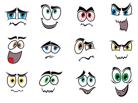 grimaces: Set of twelve Halloween smiles and grimaces isolated on a white background, cartoon vector illustration