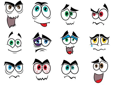 grimaces: Set of twelve colourful Halloween smiles and grimaces isolated on a white background, cartoon vector illustration Illustration