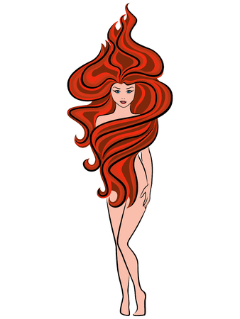 naked woman  white background: Abstract naked beautiful woman posing with extraordinary hairstyle of fiery red wavy hair isolated on the white background, vector illustration Illustration