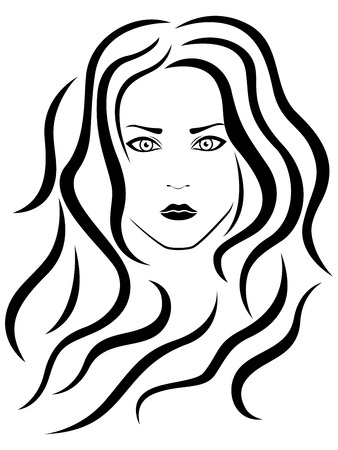 black woman face: Abstract female with wavy hair, vector black outline