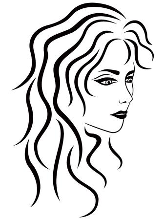Résumé femme avec des cheveux ondulés demi-tour, vecteur contour noir Vecteurs