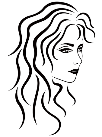 Abstract female with wavy hair half turn, vector black outline Illustration