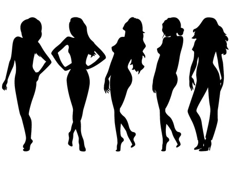 Set of five female black silhouettes, hand drawing illustrations isolated on the white background