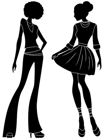 Abstract attractive slender ladies black stencil silhouettes, hand drawing stylized illustration Illustration
