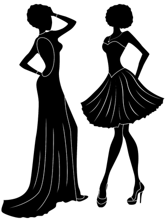 charming: Abstract charming slender ladies in long and short gowns, hand drawing black stencil stylized silhouettes