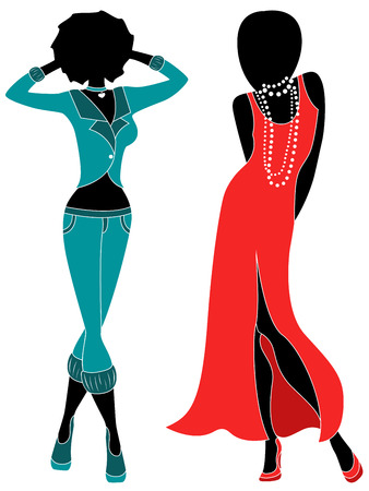 red dress: Attractive graceful ladies in dull turquoise and red dress, hand drawing stylized illustration Illustration