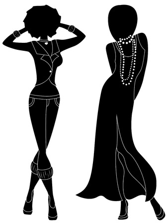 Attractive graceful ladies in long gown and in pants, hand drawing stylized black stencil silhouettes