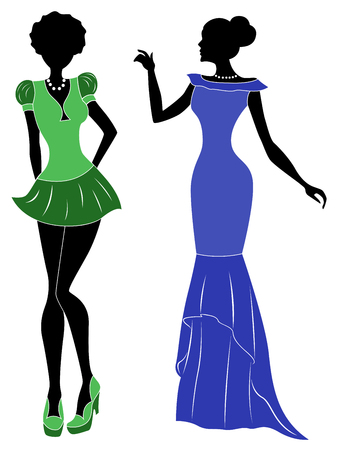 graceful: Attractive graceful ladies in short green modern and long blue classic dresses, hand drawing stylized illustration
