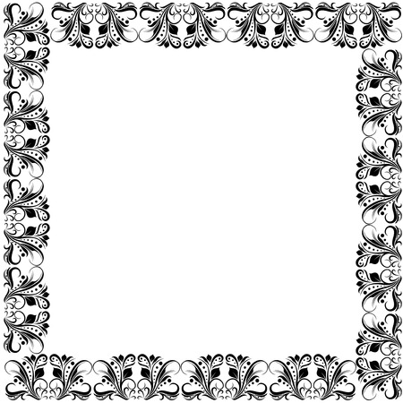 chaplet: Floral ornate frame with black floral elements of leaves and flowers on the white background