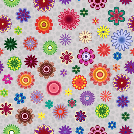 greyish: Bright colourful decorative stylized flowers on the greyish background as a fabric texture, seamless vector pattern Illustration