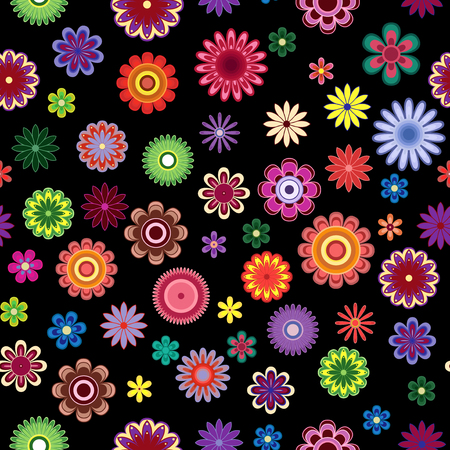 Bright colourful decorative stylized flowers on the black background as a fabric texture, contrast seamless vector pattern