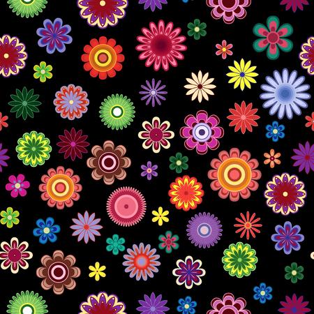 Helle bunte dekorative stilisierte Blumen auf dem schwarzen Hintergrund als Gewebebeschaffenheit, kontrastieren nahtloses Vektormuster