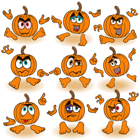 Set of nine funny Halloween orange pumpkins that gesticulate with hands isolated on the white background, cartoon vector illustration