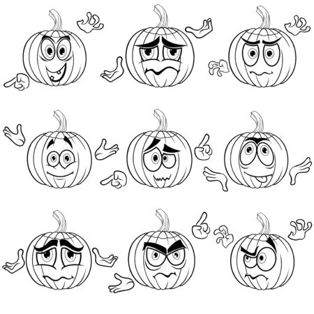 Set of nine amusing Halloween pumpkins that gesticulate with hands isolated on the white background, cartoon vector outlines