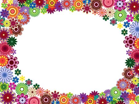 perimeter: Greeting card with placed around the perimeter many colourful flowers and empty white oval place in the centre, vector illustration