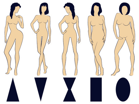 Set of five various types of female figures with conditional schematic geometric symbols below, hand drawing illustrations Ilustração