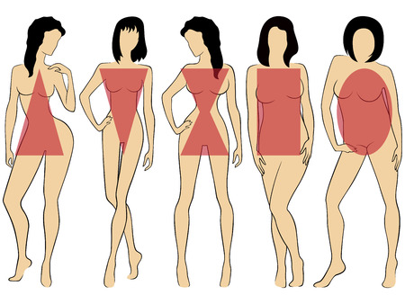 Set of five various types of women figures with conditional schematic geometric symbols on them, hand drawing illustrations