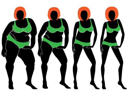portly: Four stages of abstract women in green bikini on the way to lose weight, vector illustration isolated on white background