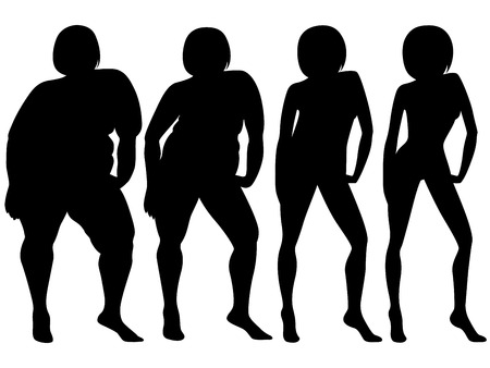 Four stages of a woman on the way to lose weight, black silhouette isolated on white background