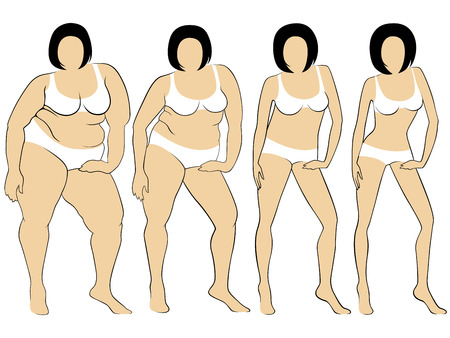 portly: Four stages of female on the way to lose weight, colorful vector illustration isolated on white background Illustration