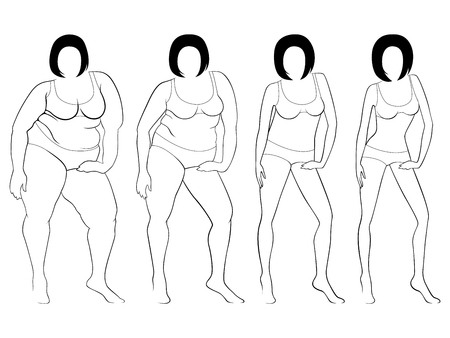 portly: Four stages of a woman on the way to lose weight, black outlines isolated on white background Illustration