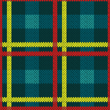 woollen: Seamless vector pattern as a woollen Celtic tartan plaid or a knitted fabric texture in blue, yellow and red colors Illustration