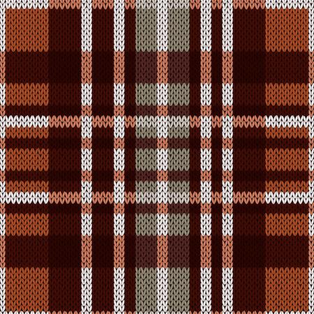 ウール ケルト タータン格子縞または茶色とグレーの色でニット生地のテクスチャとしてシームレスなベクトル パターン